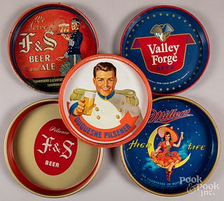 Ten tin lithograph advertising beer trays