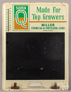 Super Q tin lithograph fertilizer thermometer/sig