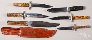 Five stag handled Bowie knives