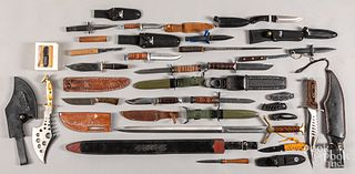 Group of modern knives and swords
