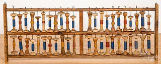 Large pine spool wall rack, 19th c.