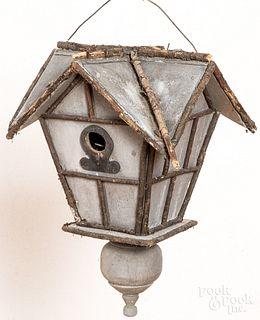 Adirondack painted pine and twig birdhouse