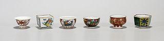 Set of Six Old Japanese Porcelain Tea Cups