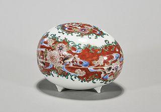 Antique Japanese Enameled Porcelain Covered Dish