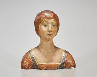 Renaissance-Style Painted Ceramic Bust