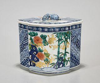 Japanese Enameled Porcelain Covered Tea Canister