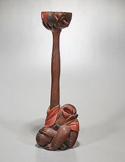 Antique Japanese Lacquered Wood Monkey
