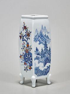 Japanese Four-Faceted Porcelain Vase