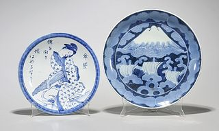 Two Old Japanese Blue and White Porcelain Chargers