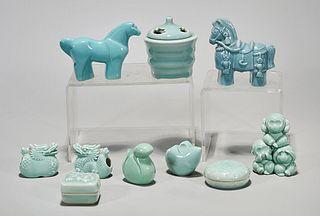 Group of Ten Japanese Celadon Ceramics