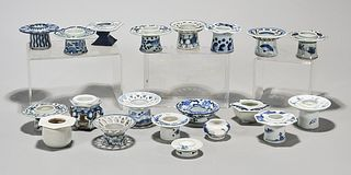 Large Group of Japanese Blue and White Porcelain Cup Stands