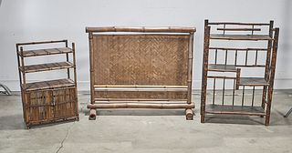 Group of Three Bamboo Furniture Pieces