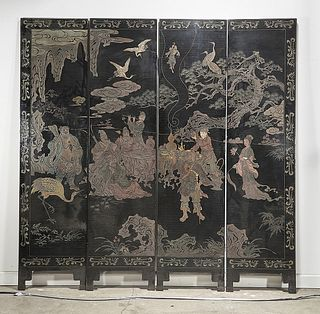 Chinese Carved and Painted Four-Panel Wood Screen