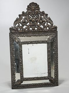 Antique Repousse Brass Wall Mirror