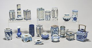 Large Group of Japanese Blue and White Porcelains