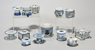 Group of Japanese Blue and White Porcelain Cup Stands
