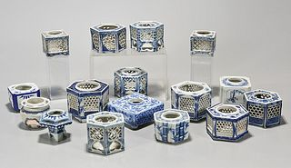 Large Group of Japanese Blue and White Porcelain Containers
