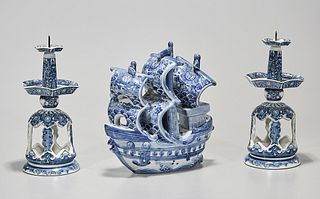 Three Japanese Blue and White Porcelains