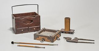 Japanese Wooden Chest with Smoking Implements