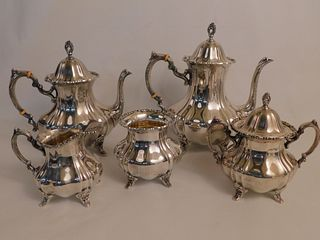POOLE 5 PC STERLING SILVER TEA SET