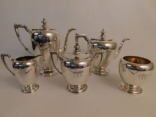 REED & BARTON 5 PC STERLING TEA SET