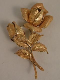 18K GOLD BROOCH - ROSES