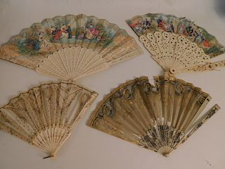 4 FANCY BONE HAND FANS