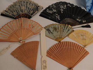 7 ASSORTED OLD HAND FANS