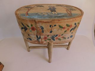 FOLK ART BRIDES BOX ON STAND