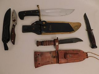 4 KNIVES INCLUDING CASE BOWIE KNIFE