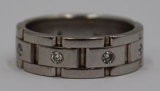 JEWELRY. Men's Signed 14kt White Gold and Diamond