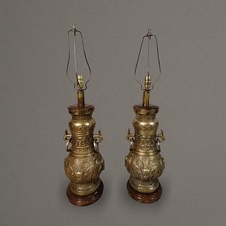 Pepe Mendoza. Par de lámparas de mesa estilo Oriental en bronce / Pair of Orientalist bronze table lamps