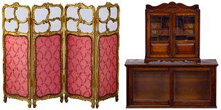 English Oak Tobacco Cabinet and Screen