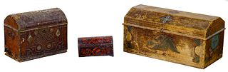 Folk Art Carved and Painted Chest