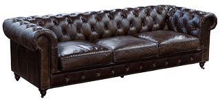 (Attributed to) Restoration Hardware 'Kensington' Leather Sofa