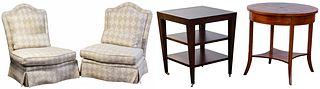 Baker Upholstered Slipper Chairs