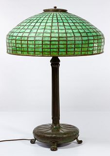 (Attributed to) Tiffany Studios #9922 Lamp with Leaded Glass Geometric Shade