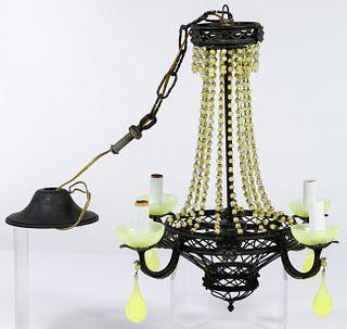 Venetian Opaline Glass and Brass Chandelier