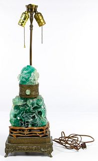 Asian Carved Green Quartz Table Lamp