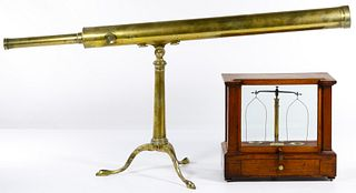 Brass Telescope and Wood Cased Scale