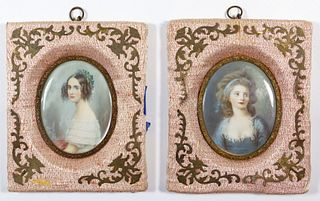 French and German Miniature Watercolor Portraits