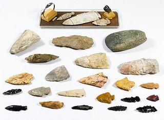 Native American Arrowhead and Tool Assortment