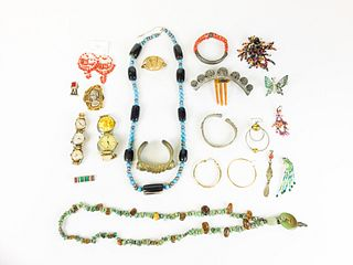 Grouping of Costume, Beaded & Military Jewelry