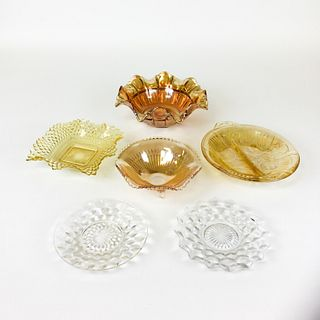 Group of Luster Glass Bowls & Small Glass Plates