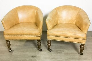 Pair of Ethan Allen Leather Club Chairs