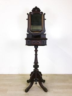 Antique Marble Top Wood Shaving Mirror on Stand