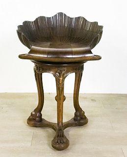 Italian Ornately Carved Shell Music Stool