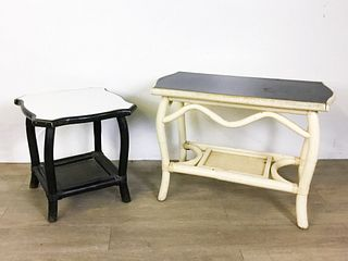 Two Casual Bamboo Style Tables