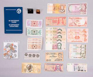 Colección de numismática mundial. Diferentes origenes,SXX. Consta de: monedas y billetes en diferentes valores faciales. Pz: 81