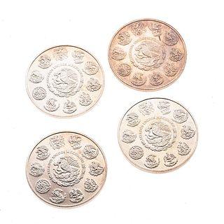 Cuatro monedas de plata .999. 1 Onza. Peso: 124.6 g.